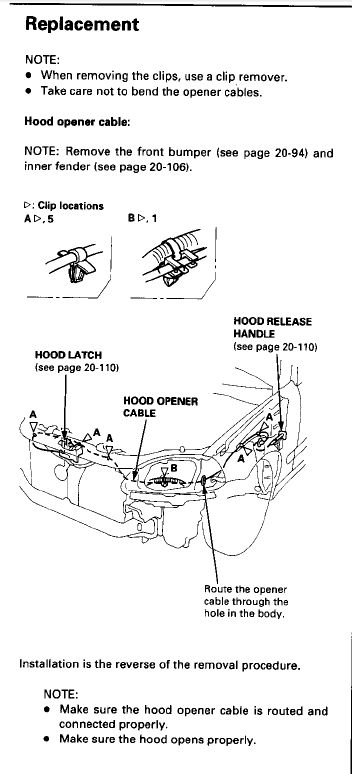 2005 civic how to open hood