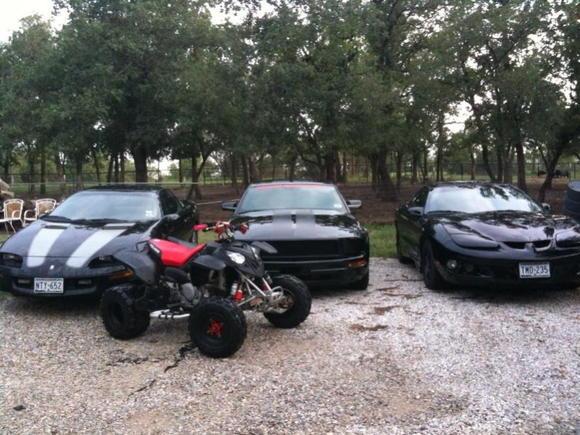 '96 Camaro, '06 Mustang, '00 Firebird, and '07 Polaris Predator