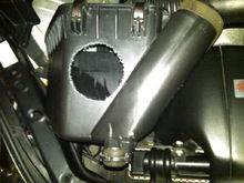 "Air intake mode for 3"" ducting to area in front of radiator."