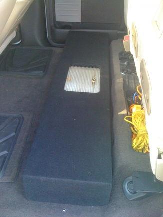"Custom box with 2 10"" kicker CVTs and Autotek 700 watt amp"