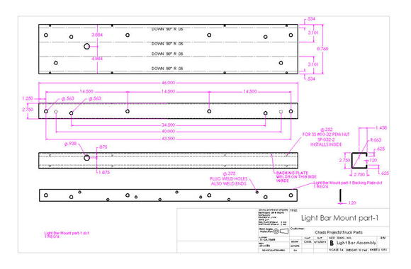 Light Bar Assembly drawing page 2 of 3