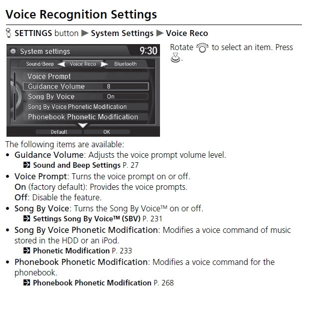 Voice Prompts & Navigation