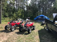 8/18 St Helen campground w/ new 8 man tent, Trx450r's 04, Planned a 75 mi. round trip up around Mio and back. great weather!