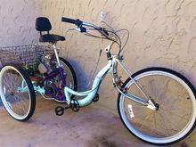 """Low-Rider Schwinn Meridian 26""""Trike:Rear-mount 49cc 2-stroke motor"""