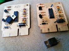 New hot fuel module and old one with voltage regulator toasted, cracked.
