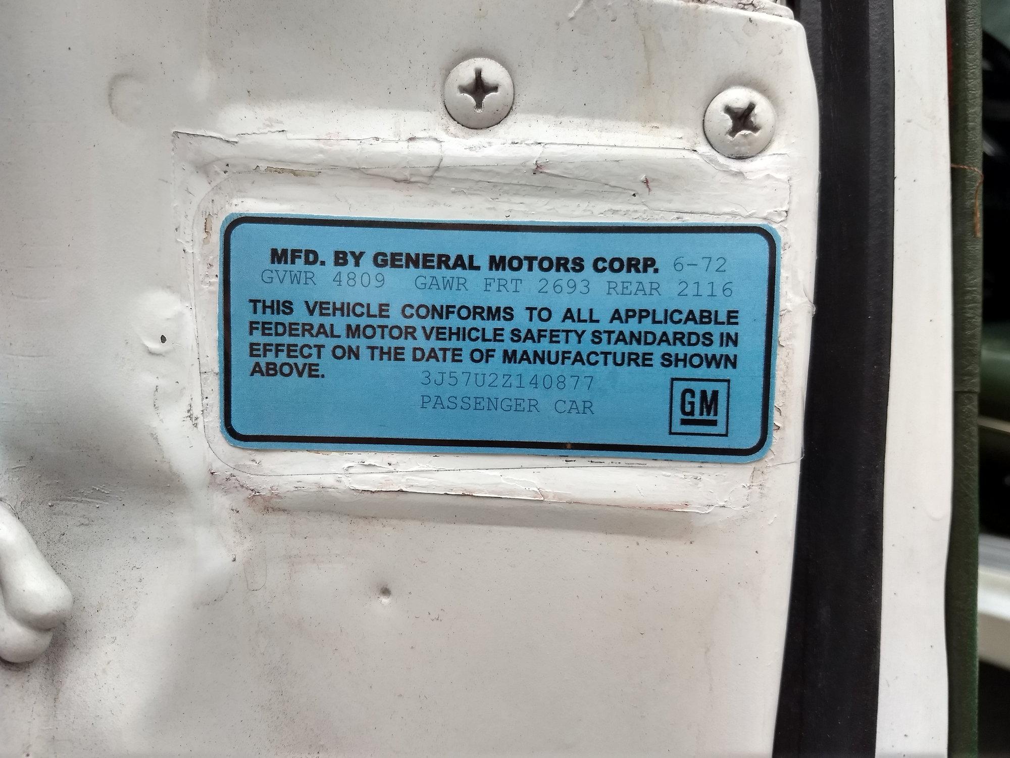 New VIN sticker (part 2) - ClassicOldsmobile com