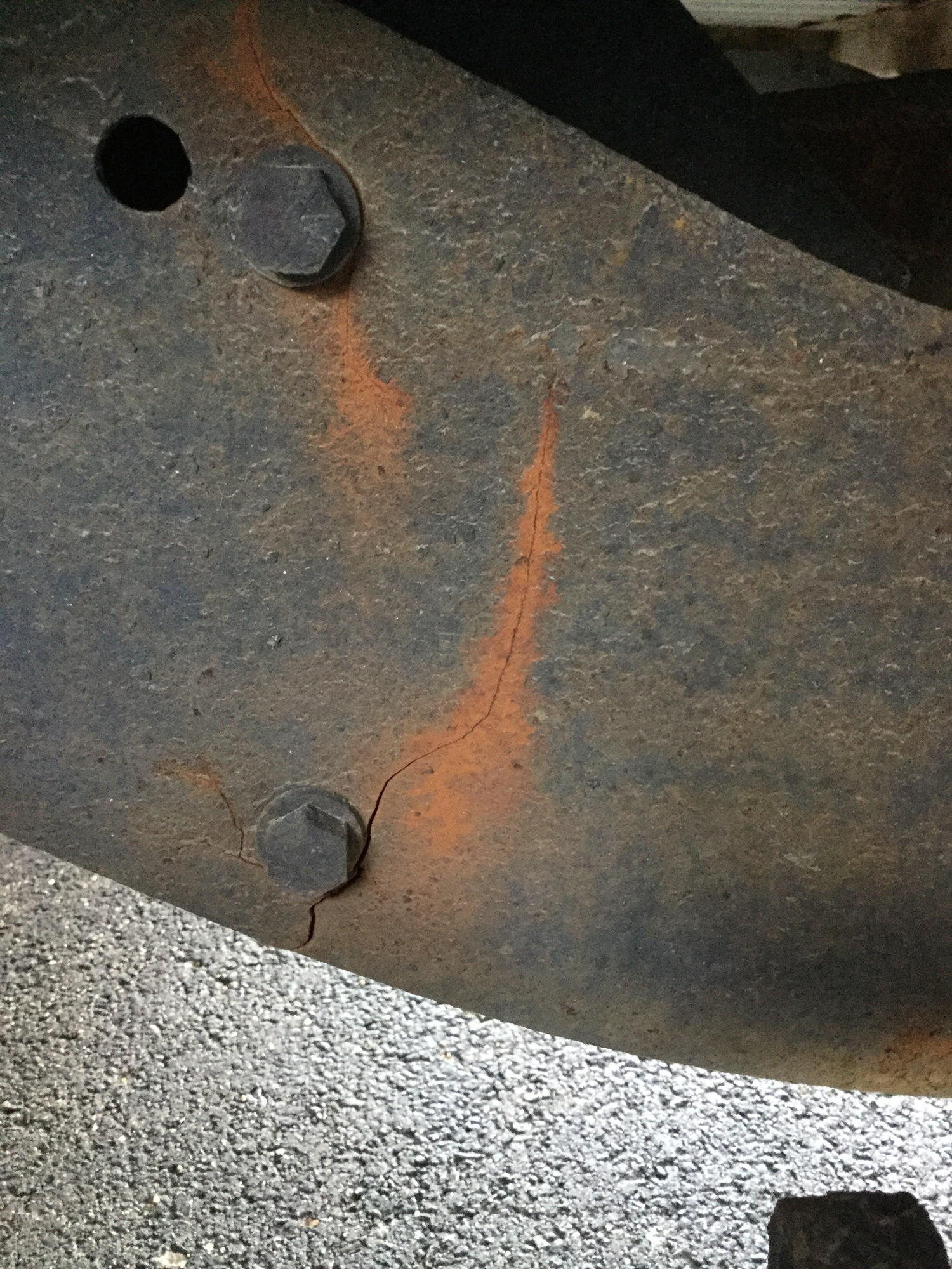 It has the 5 2 with the 46rh and is 2wd i was greasing the rear suspension and i noticed this crack in the frame its right above the axle in between the