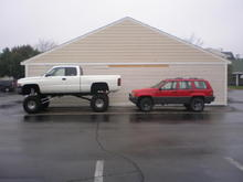 Dodge with 15 inches of lift jeeps with 3