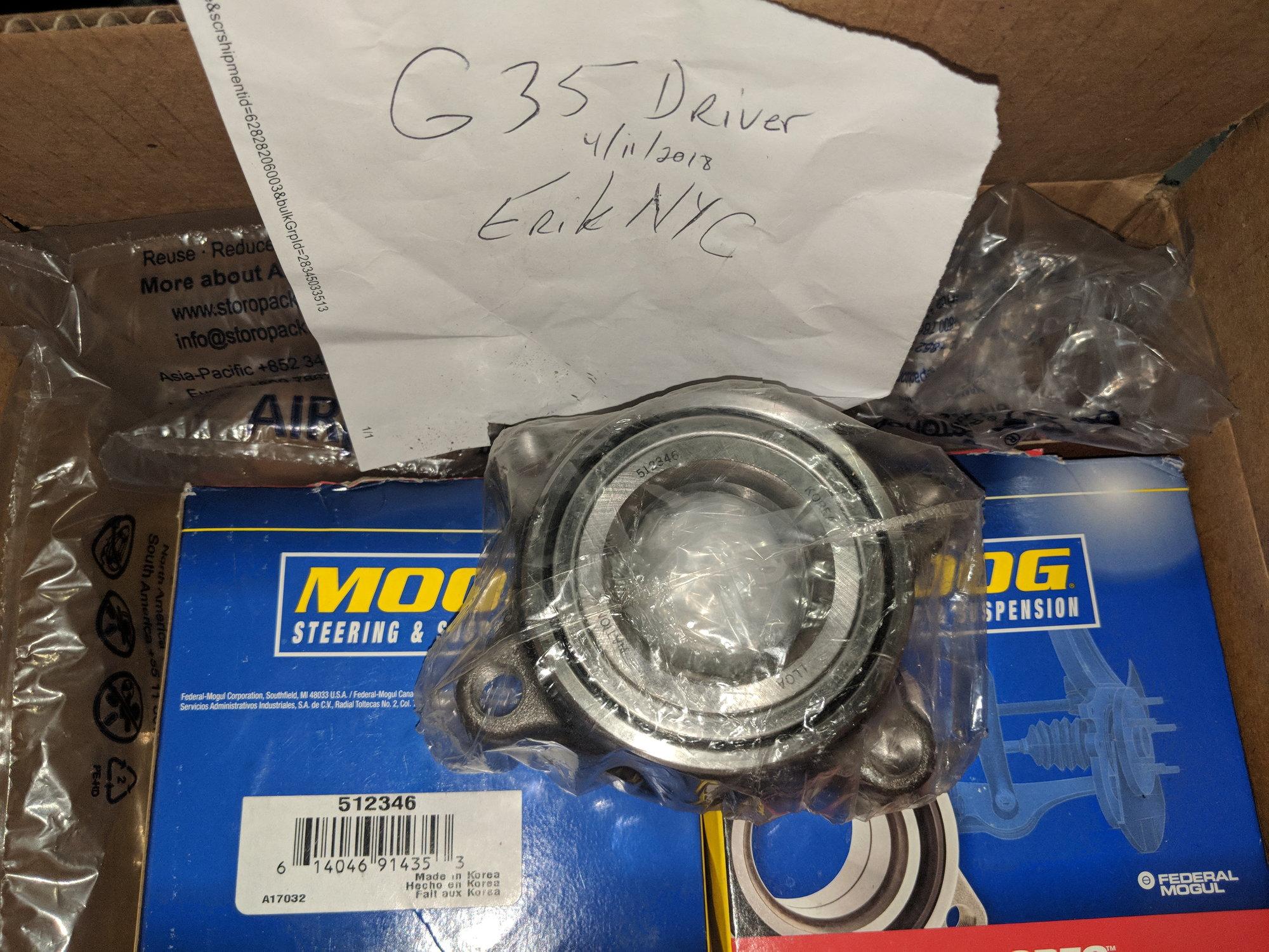 FS: Moog Rear Wheel Hub Bearings 512346 (One Pair