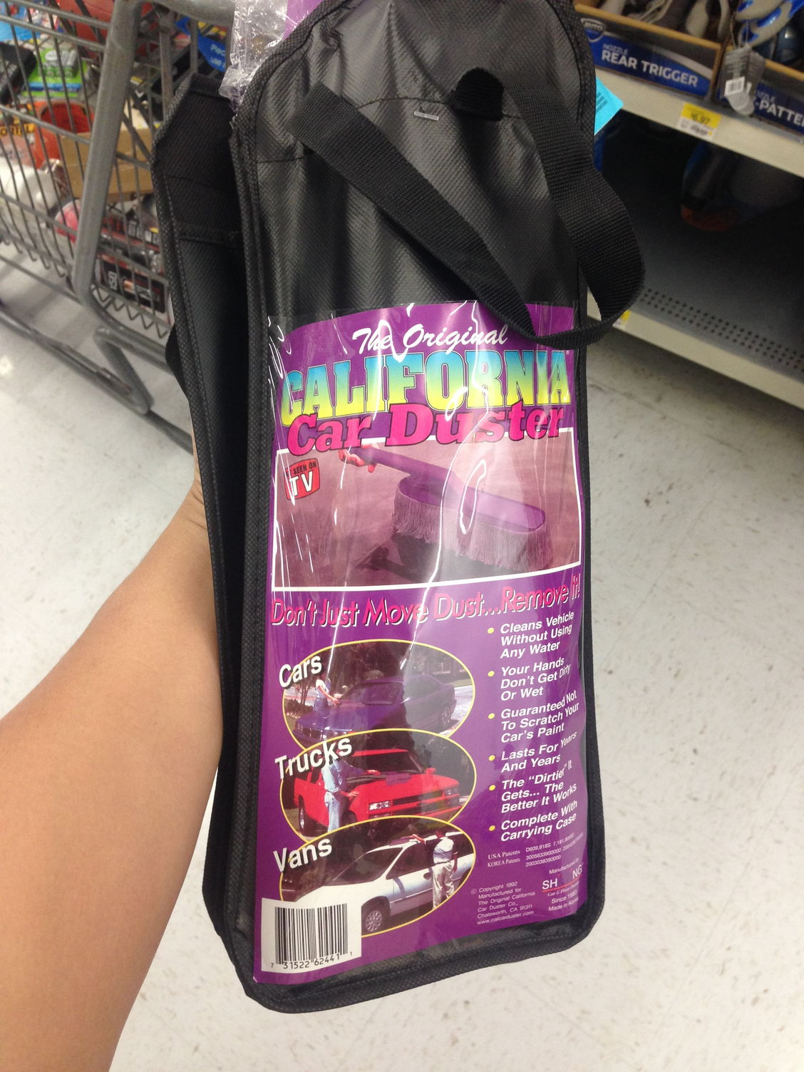 Saw them at walmart it has a purple handle with a gray mophead