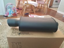 Blox sport muffler. 2 1/2 inch. Getting exhaust done soon. The rust on my b pipe currently is leaking through and the leaks are getting worse. New piping and resonator will be a great upgrade for me.