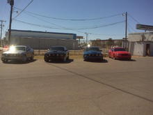 From left to right. My 06 with steeda CAI, SCT x3 tune and Borla Stingers. Dom's 09 GT. Larry's 06 GT with HP Performance turbo kit and cowl hood. James' GT with cobra conversion.