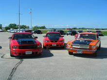 2005 Mustang GT, 2000 Mustang GT and 1965 Mustang fastback