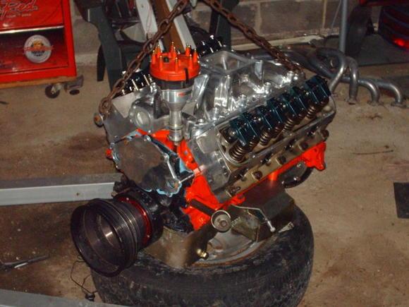 347 stroker 9:5:1 compression twisted wedge heads msd distributor pro billet. afm b31 blower cam shaft 1.6 roller rockers efi spyder intake (not shown)