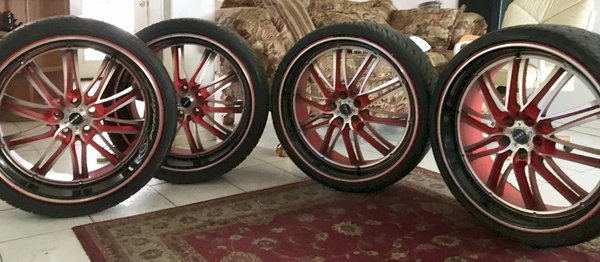 22x10 inch Rims 5 lug 120offset w/  Racing Staggered Ti  for Sale $650