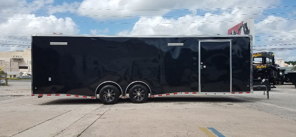 2019 Covered Wagon 8.5x28 7K Spread Axles Back in Black !!!!