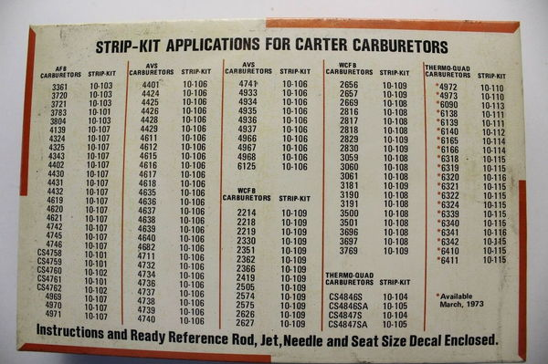 Carter Strip Kits Thermo-Quad Metering Rods Needle & Sea  for Sale $475