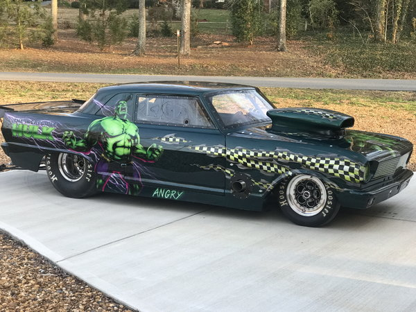 1965 chevy two drag car. And I have vin plates and title on.  for Sale $75,000
