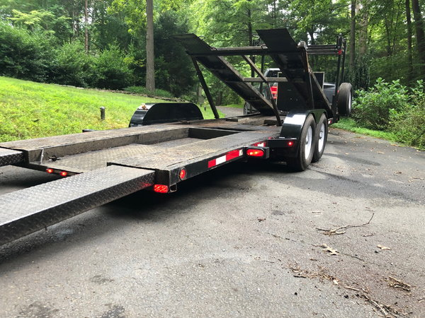 Compact open 2 car hauler with hydraulic lift  for Sale $6,500