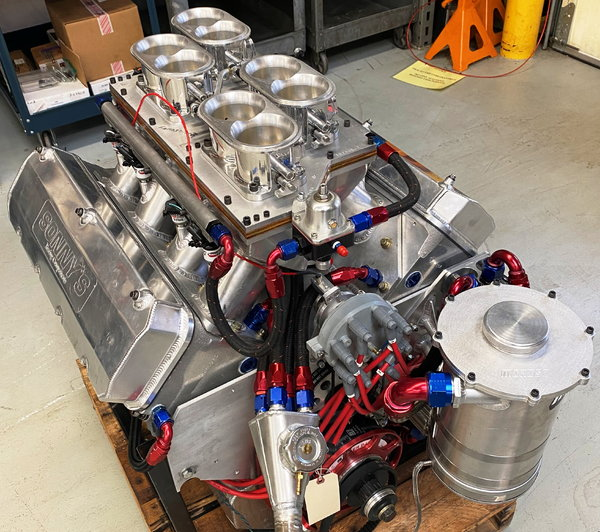 """Sonny's 673 cu.in. 5"""" Wedge EFI Engine for sale!  for Sale $41,500"""