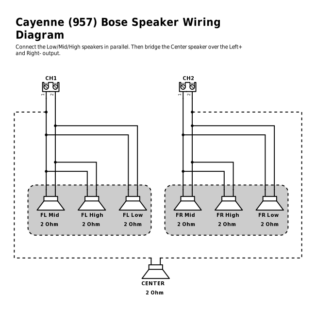 speakers in parallel with bridged center rennlist 6 Speaker Wiring Diagram High