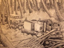 Drawing I did of an Off Road adventure I was in back in 1976 with friends. How do you like their FJ40's