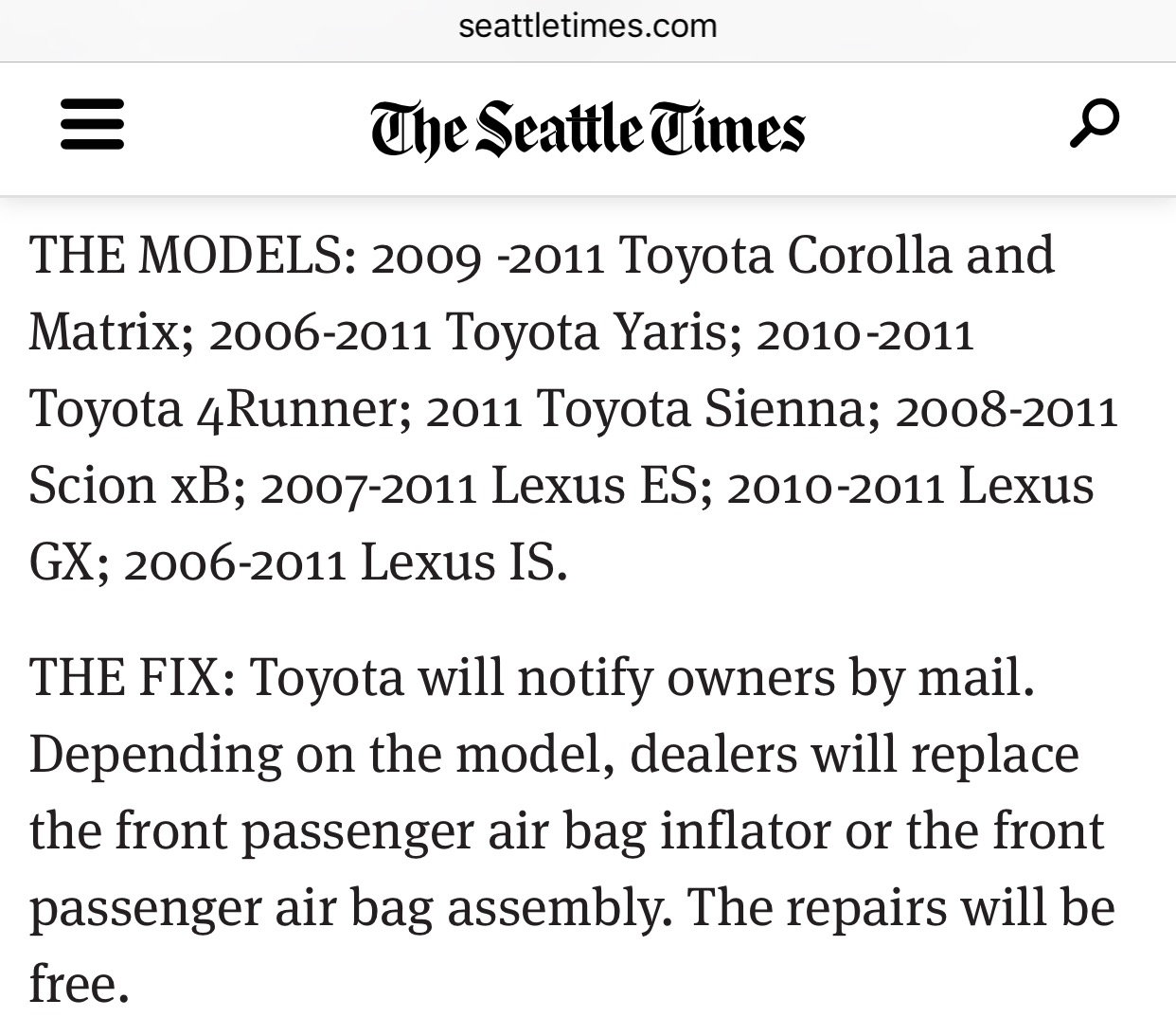 2006-2011 Lexus IS250/350. http://www.seattletimes.com/business...ir-bag- recall/