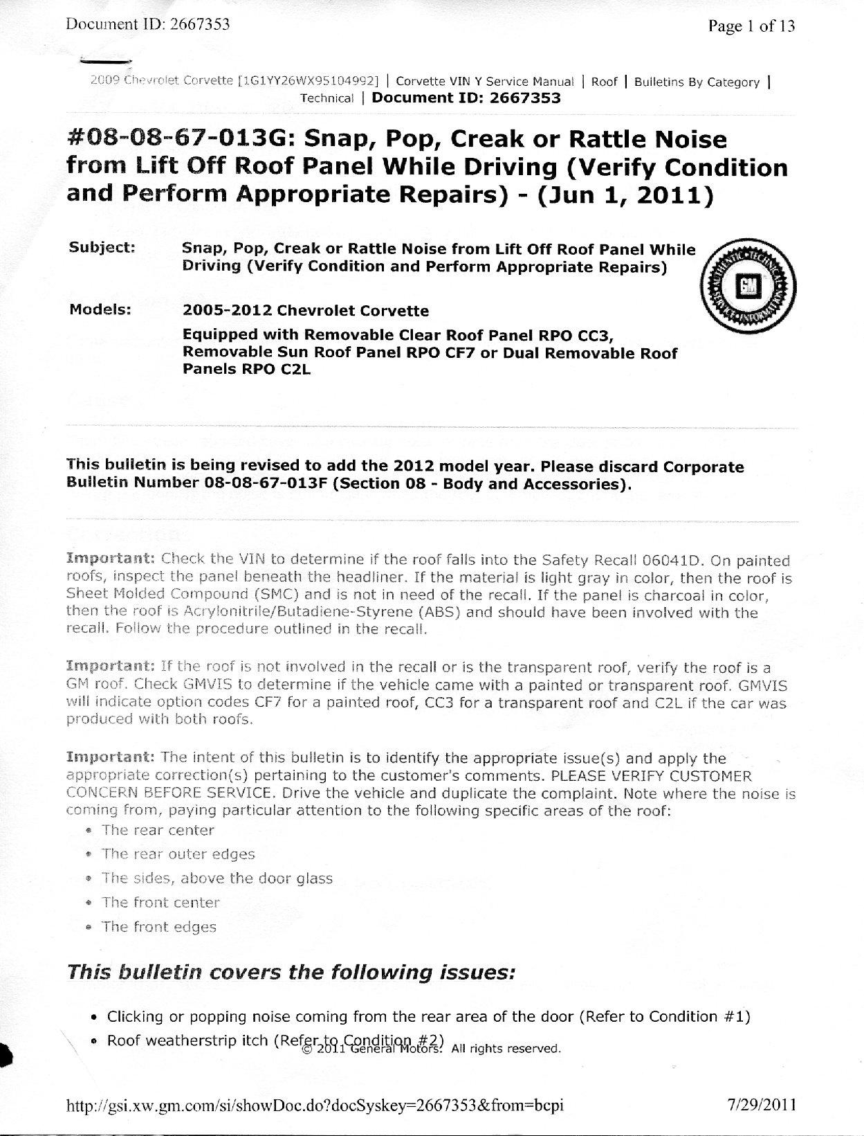 Creaking Roof Issue Has A Simple Official Fix Page 7 Corvetteforum Chevrolet Corvette Forum Discussion
