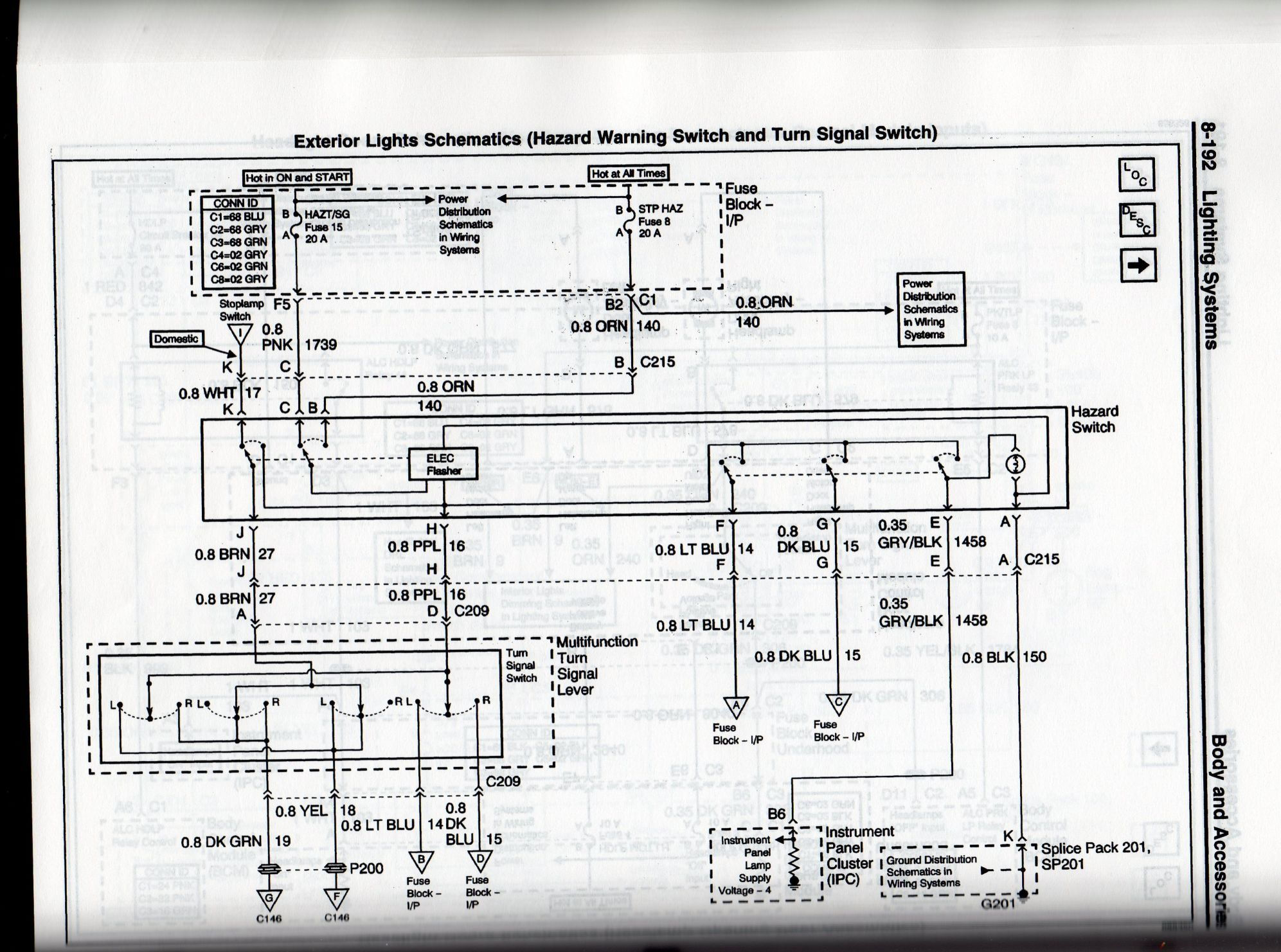 Hazard And Multifunction Switches F F Fc A Ca A B D B D Fff Eee Cbbc Da B B D A C on C5 Corvette Headlight Diagram