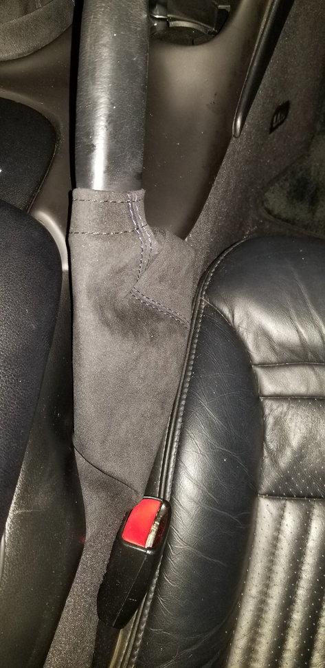RedlineGoods ebrake Boot Compatible with Lexus is 2001-05 Black Alcantara-Blue Thread