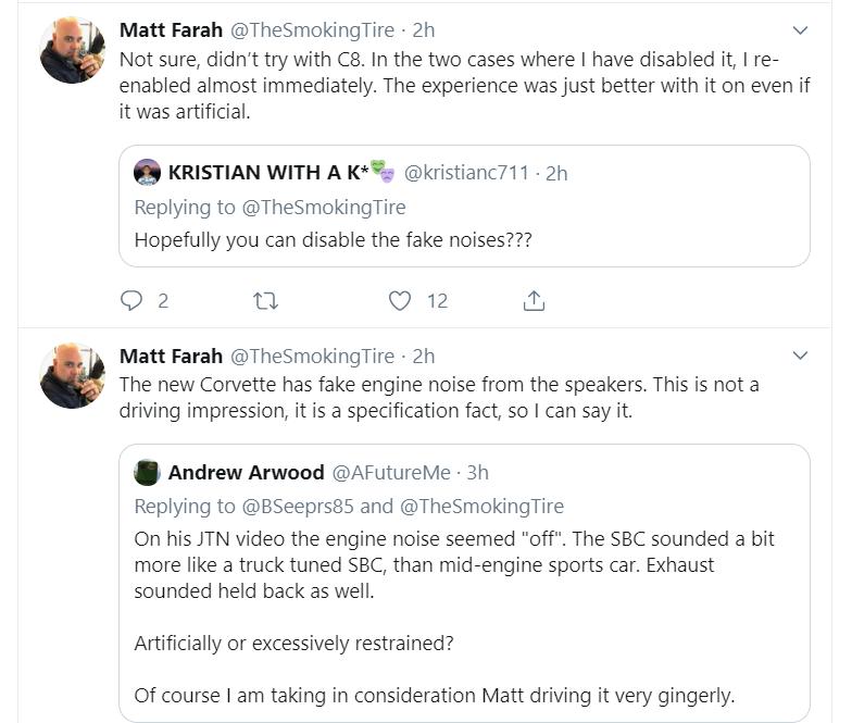C8 has fake engine noise according to Matt Farah