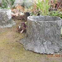 The 2 tree stump seats were placed in the yard where I then, added the bark texture details.