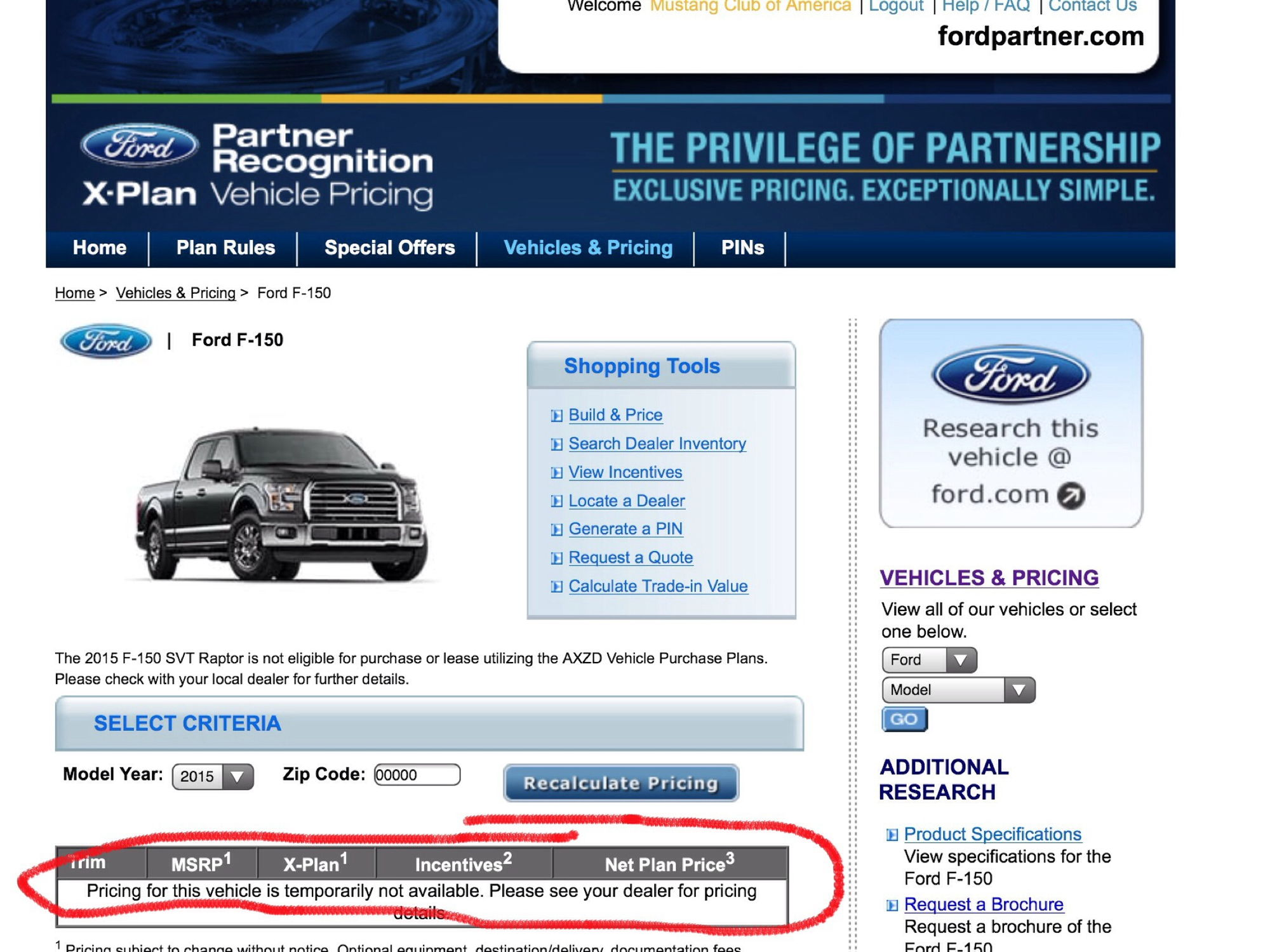 ford partners site not giving me x plan pricing - ford f150 forum