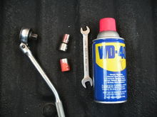 All you will need for this job is a 10mm and 13mm socket, a ratchet that angles, another 10mm wrench (optional), and a can of wd-40.