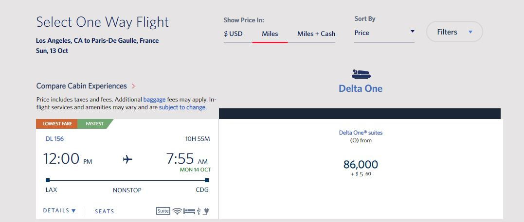 Great Delta One Suite Availability out of LAX - Sept/Oct