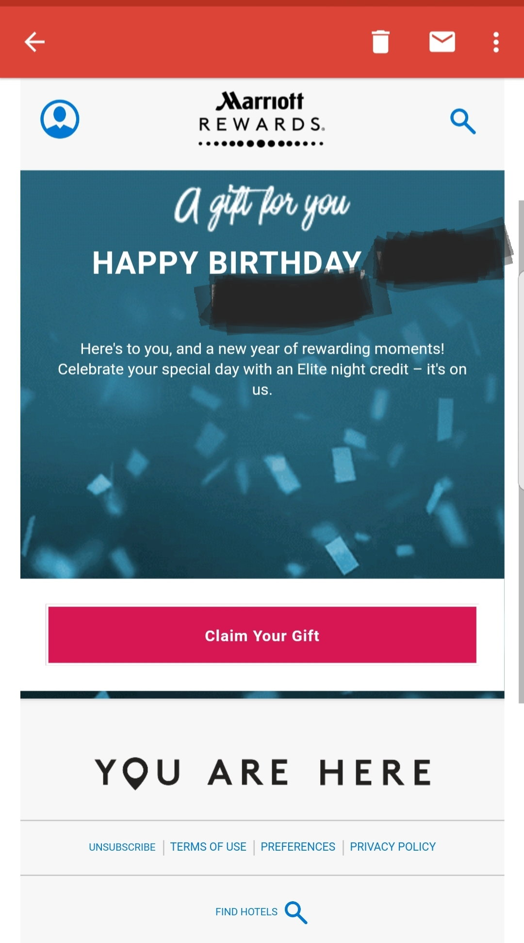 Does marriott still send birthday promotion for elite members it and you need to claim it by a simple click both myself and spouse received the emails on the actual birthday posting takes place with 3 days if i 1betcityfo Choice Image