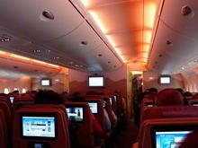 Emirates cabin interior with mood lighting, DUS-DXB.