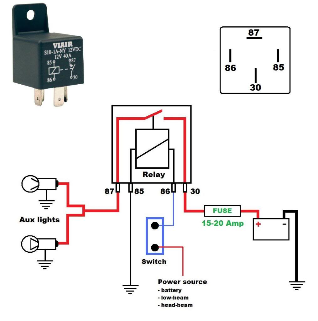 Here's a wiring diagram on how to wire aux/running lights using a relay: