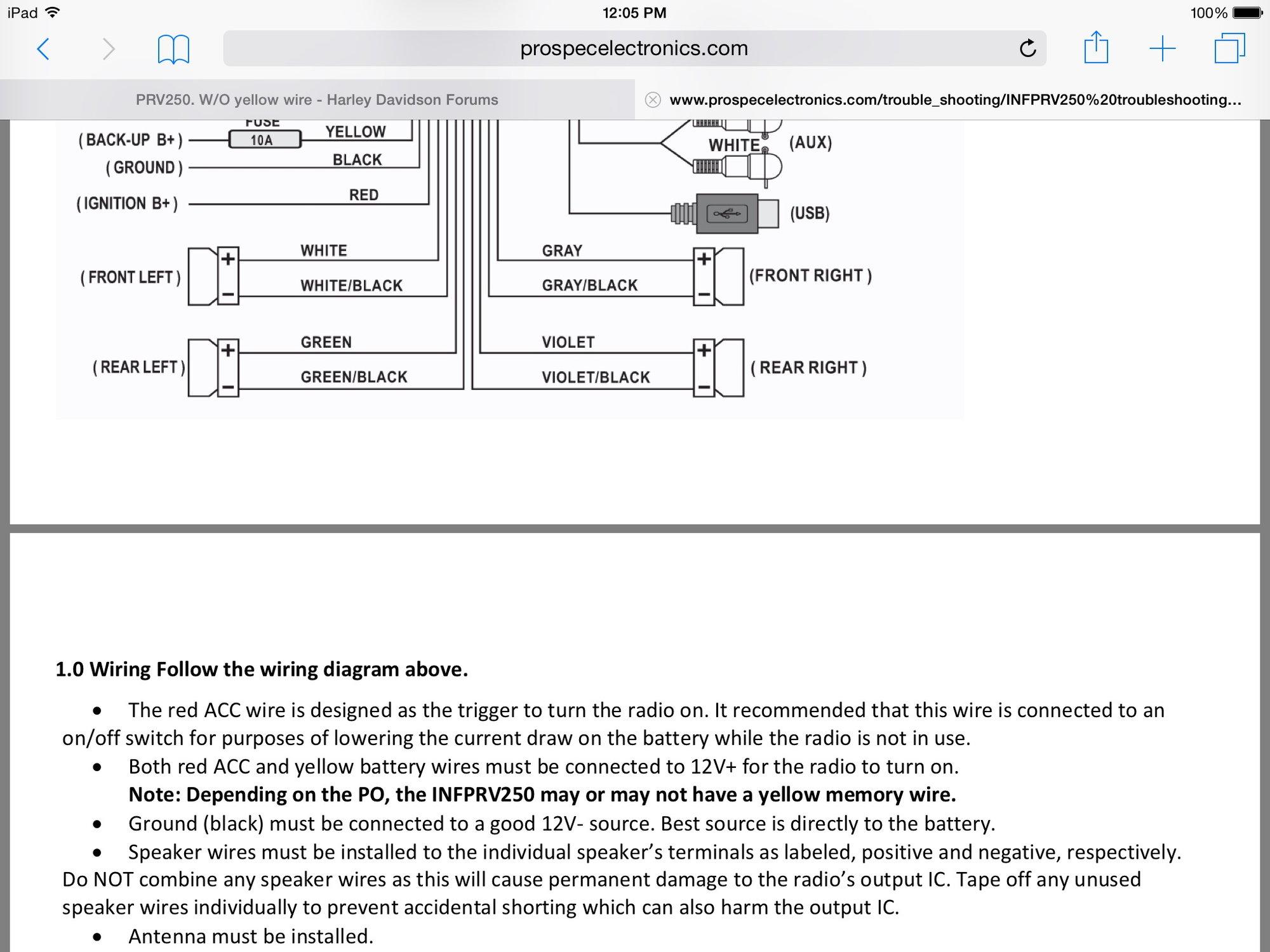 Infinity Prv250 Marine Radio Wiring Diagram - Wiring