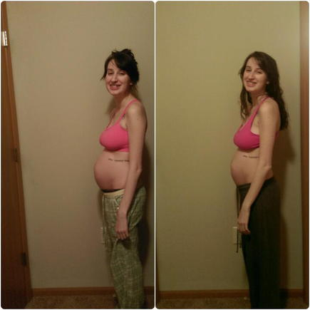 Left- 21 weeks (tonight), right- 20.2 weeks. This 5 day difference is blowing my mind!