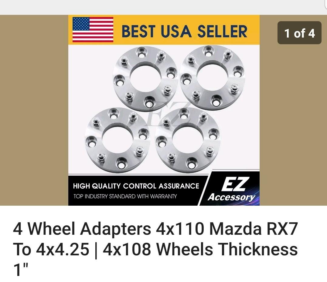 Wheel Adapters 4x110 Mazda RX7 To 4x4.5 Wheels
