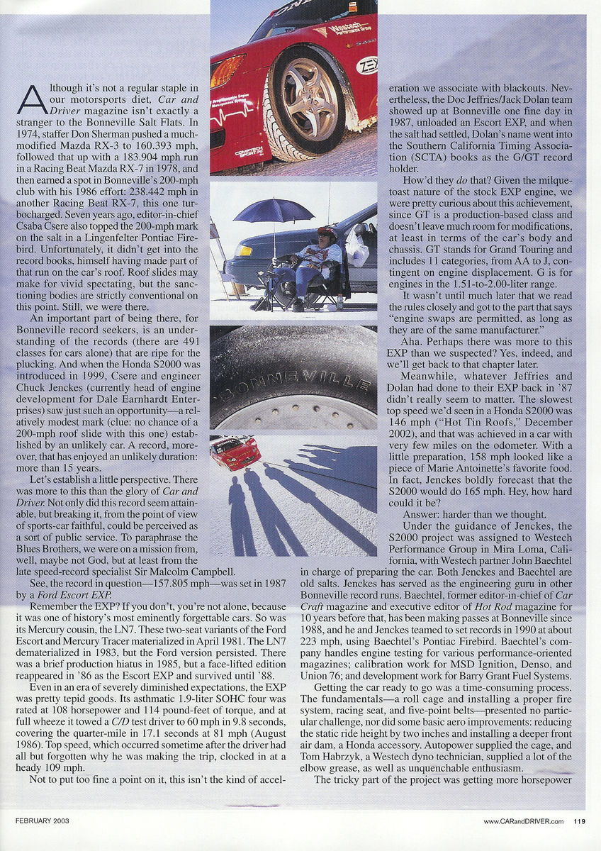 S2000 At Bonneville Car And Driver Magazine Article