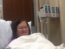 My bride and her first chemo session. Thank you all so much for your continued support, prayers, and your words of encouragement and geniun heartfelt compassion .