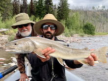 My float buddy Bill, and guide Nick with a nice bull trout from the south fork of the Flathead. Quickly returned to the river.