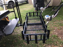 Built a custom rod holder for the fish camp to get rods back and forth to the boat.