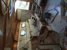View from the inside of the cabin look back towards the stern of our magnum marine 40 sport project by one-design