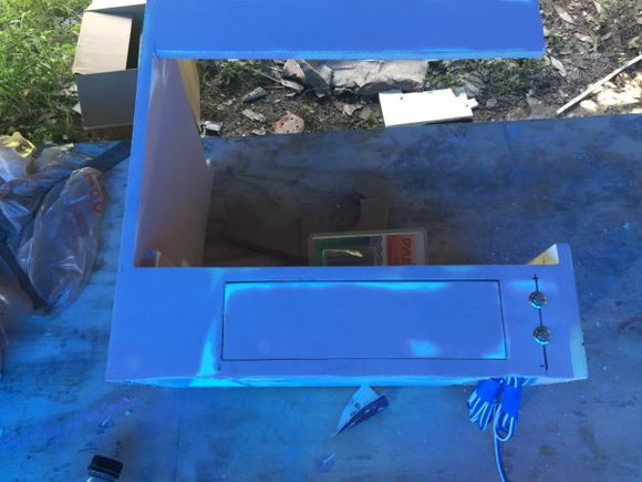 Microwave cabinet with light switches for galley