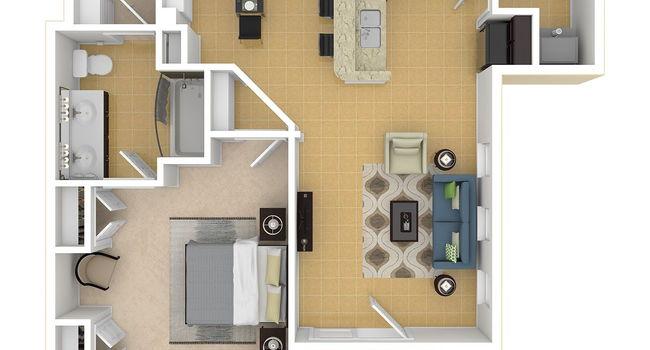 1 Bedroom / 1 Bath / 888 Sq.Ft.
