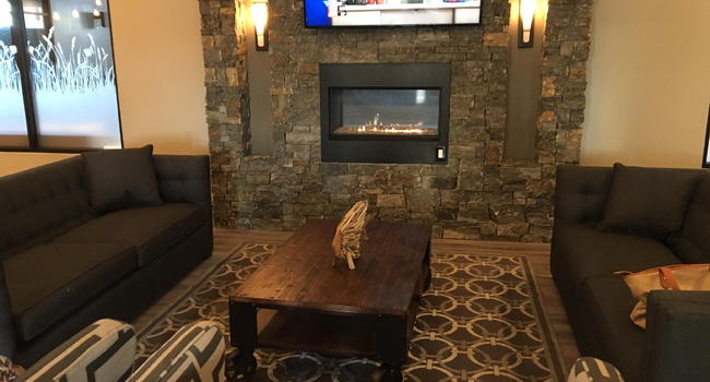 COMMUNITY LOUNGE WITH SEE THROUGH FIREPLACE