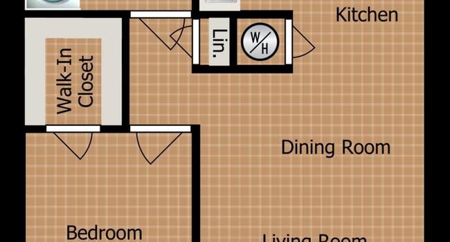 One Bedroom B Floorplan Diagram